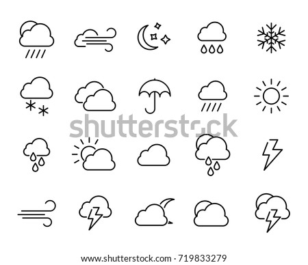 Premium set of weather line icons. Simple pictograms pack. Stroke vector illustration on a white background. Modern outline style icons collection.