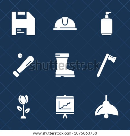 Premium set with fill icons. Such as business, bulb, floral, internet, baseball, spanner, hard, helmet, hammer, electricity, footwear, safety, sign, disk, fashion, printer, engineer, liquid, sport