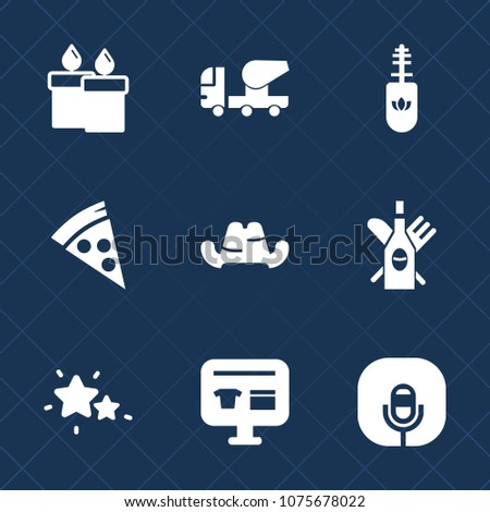 Premium set with fill icons. Such as mixer, cap, red, pizza, night, brush, sky, light, christmas, nature, equipment, alcohol, decoration, mascara, microphone, construction, food, headwear, music, fire