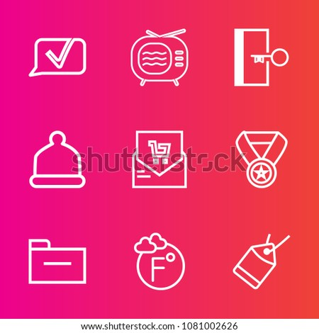 Premium set with outline vector icons. Such as list, award, file, reward, supermarket, video, electric, prize, hat, talk, retail, fahrenheit, screen, message, success, door, document, tag, tv, win