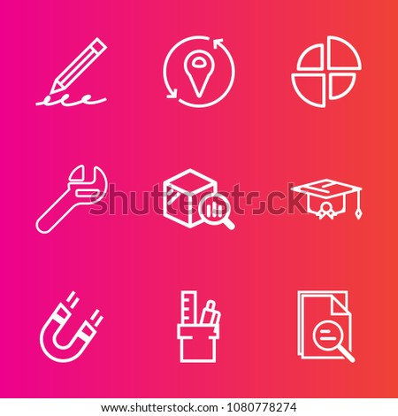 Premium set with outline vector icons. Such as note, pencil, magnetic, mechanic, repair, stationery, pole, pen, write, office, work, drawing, university, element, wrench, sign, science, finance, pie