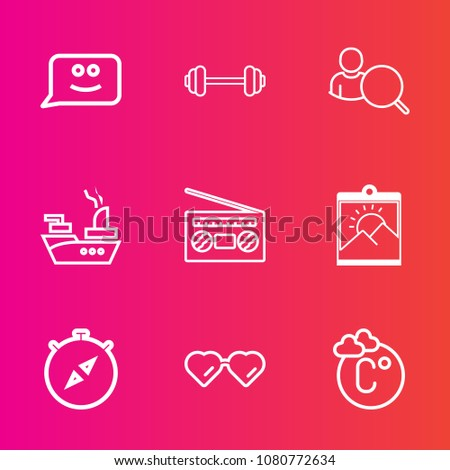 Premium set with outline vector icons. Such as sound, sunglasses, east, frame, web, marine, physical, fahrenheit, temperature, gym, compass, fashion, sea, music, computer, picture, north, chat, radio