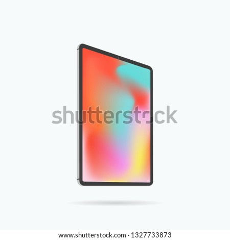 Premium tablet in trendy thin frame design. Frameless tablet display. Responsive screens to display your mobile web site design. Tablet icon. Vector illustration