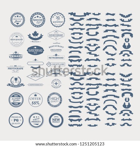 premium vintage badge and ribbon collection on blue color