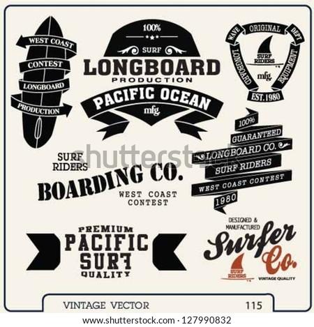 premium vintage vector surf