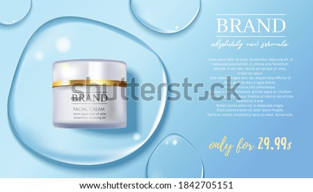 Premium VIP cosmetic ads, hydrating luxury facial cream for sale concept of  protection skin and moisturizing face serum, 3D realistic vector illustration. Water drop background.