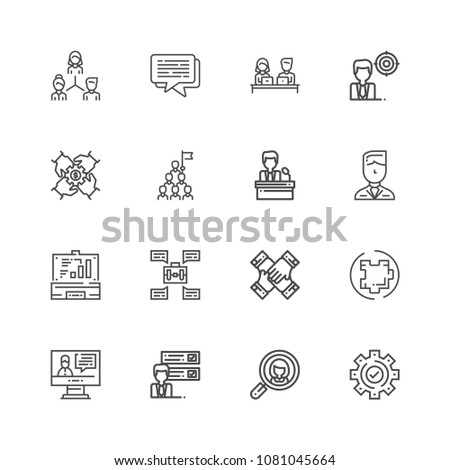 Premiumcollection of teamwork related line icons. Thin line vector set of signs for infographic, logo, app development and website design. Premium symbols isolated on a white background. #1081045664