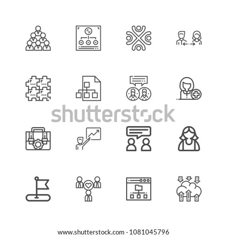Premiumcollection of teamwork related line icons. Thin line vector set of signs for infographic, logo, app development and website design. Premium symbols isolated on a white background. #1081045796