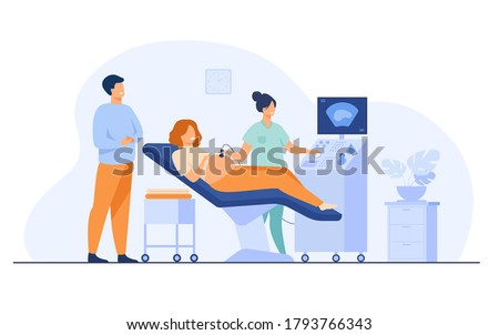 Prenatal care concept. Sonographer scanning and examining pregnant woman while expecting father looking at monitor. Vector illustration for medical examination, sonography, ultrasound test topics