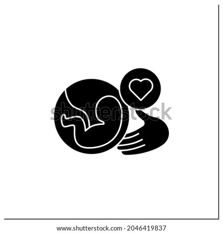 Prenatal care glyph icon.Care about not yet born baby.Solicitude throughout your pregnancy.Mom and baby health protection.Women health concept.Filled flat sign. Isolated silhouette vector illustration Сток-фото ©