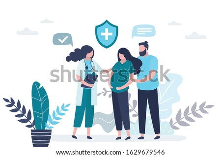 Prenatal medicine. Cute pregnant woman with husband and female doctor. Medical worker or nurse in uniform. Consultation, recommendations of physician. Health insurance or baby care. Vector