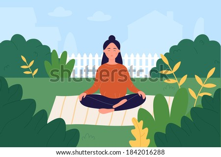 Prenatal yoga vector illustration. Cartoon pregnant woman character taking care of mental and physical health, doing lotus yoga asana pose in garden, pregnancy healthy lifestyle workout background