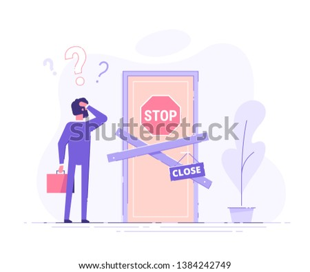 Preoccupied business man is standing near the closed door and scratching his head. Metaphor of issues and questions. Modern vector illustration. Сток-фото ©