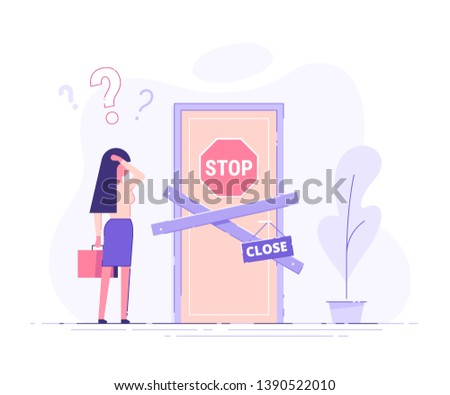 Preoccupied business woman is standing near the closed door and scratching his head. Metaphor of issues and questions. Modern vector illustration. Сток-фото ©