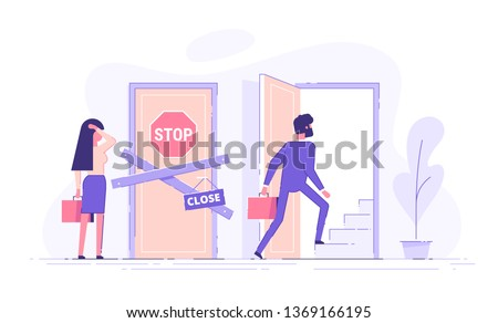 Preoccupied woman standing near the closed door and man opening the door and walking up the stairs. Unequal career opportunities between men and women. Discrimination of women in career growth. Vector
