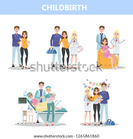 Preparing for hospital before baby birth. Woman giving birth and happy family holding newborn. Isolated flat vector illustration