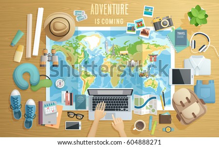 Preparing for the trip, Travel accessorieson wooden background. Vector illustration.
