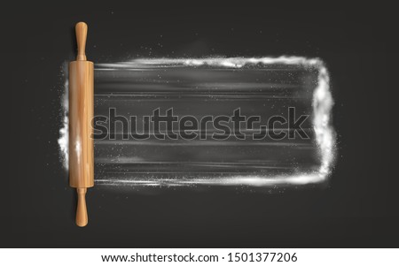 Preparing pastry, kneading, flattening dough for bake top view, isolated, 3d realistic vector with wooden rolling pin on surface powdered flour illustration. Bakery, pastry shop ad design element