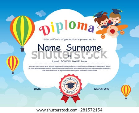 kindergarten diploma certificate template download free vector art
