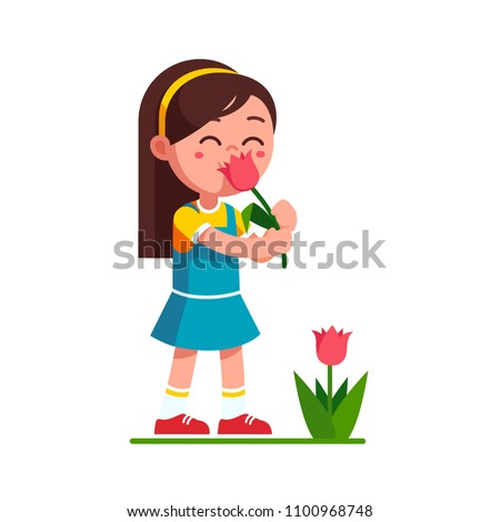 Preschool girl kid holding tulip flower and smelling it. Child girl enjoying flower aroma smell. Cartoon kid character. Flat style vector illustration isolated on white background