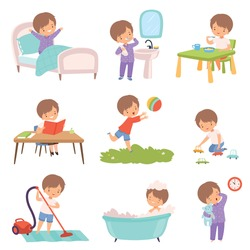 Preschool Kid Daily Routine Activities Set, Cute Boy Waking Up, Brushing Teeth, Eating Breakfast, Reading Book, Playing Toys, Vaccuuming the Floor, Taking Bath Cartoon Vector Illustration