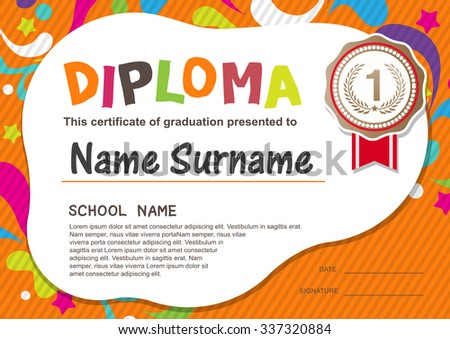 Royalty free stock photos and images preschool kids diploma preschool kids diploma certificate background design template yadclub Choice Image