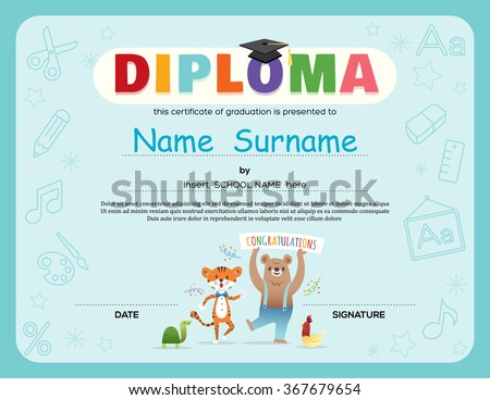 Preschool Kids Diploma certificate background design template with animals cartoon
