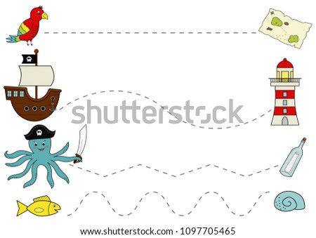 Preschool pirate worksheet for practicing fine motor skills, tracing lines. Educational game. Funny cartoon characters. Vector illustration