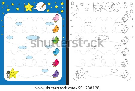 Preschool worksheet for practicing fine motor skills - tracing dashed lines - birds flying in the sky