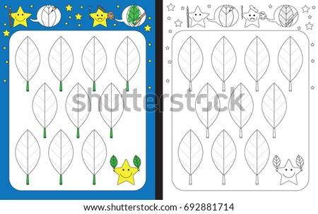 Preschool worksheet for practicing fine motor skills - tracing dashed lines on leaves