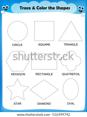 Preschool worksheet trace the shapes and color. Basic writing and coloring practice