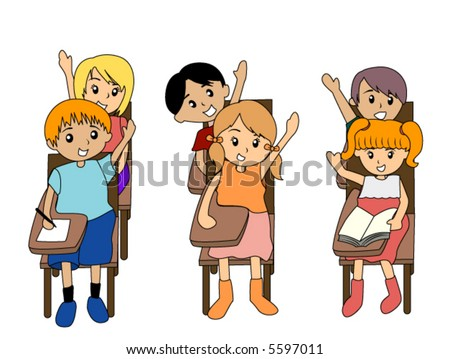 Girl Student Raising Hand Clipart Preschoolers raising their