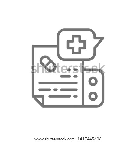 Prescription medication, instruction line icon.