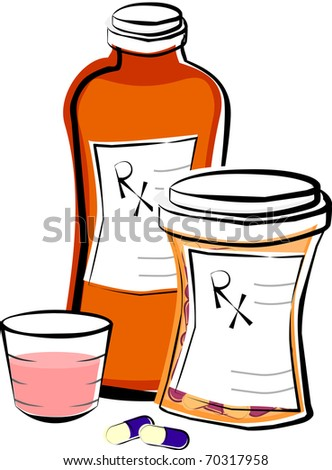 Prescription Medicine Pill and Liquid Bottles