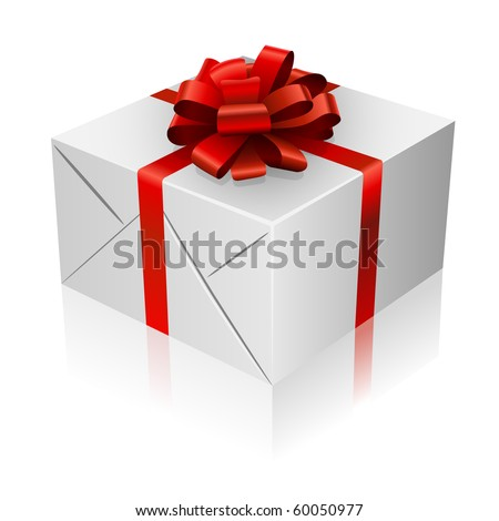 Present box with red ribbon and bow.
