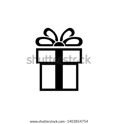 Present, Gift Box. Flat Vector Icon illustration. Simple black symbol on white background. Present, Gift Box sign design template for web and mobile UI element