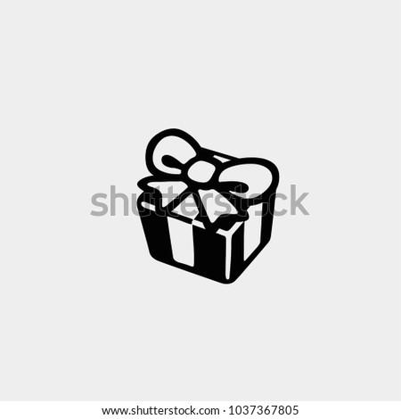 Present icon. Present box icon. Vector present box with ribbon. Gift icon