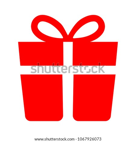 present icon, vector gift box - present package, birthday or holiday symbol