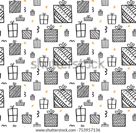 Present seamless pattern. Christmas gift boxes. Hand drawn presents sketch.