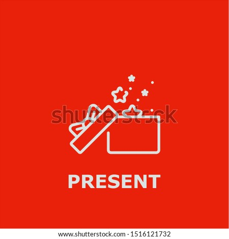 Present symbol. Outline present icon. Present vector illustration for graphic art.