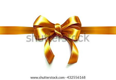 Present wrapped with golden ribbon with beautiful bow on it. Vector illustration