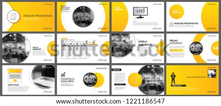 Presentation and slide layout background. Design yellow and orange gradient circle template. Use for business annual report, flyer, keynote, infographic, brochure.