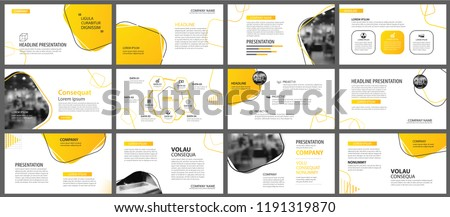 Presentation and slide layout background. Design yellow and orange gradient geometric template. Use for business annual report, flyer, marketing, leaflet, advertising, brochure, modern style. ストックフォト ©