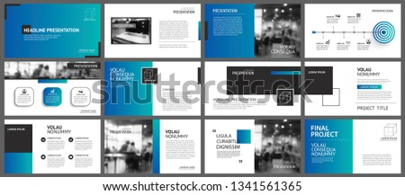 Presentation and slide layout template. Design blue and green gradient geometric background. Use for business annual report, flyer, marketing, leaflet, advertising, brochure, modern style.