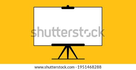 Presentation blank white board for conference. Advertising stand or flip chart or blank artist easel. Empty board or billboard for meeting on school or work.  Flat vector slide screen sign.  ストックフォト ©