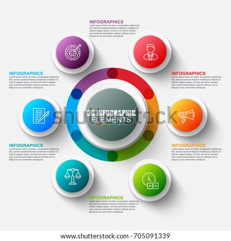 Presentation business 3d infographics vector design template. Can be used for steps, concept with 6 options, parts or processes, workflow, graph, diagram, chart, marketing icons, info graphics.