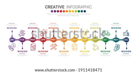Presentation business infographic template for 12 months, 1 year, can be used for Business concept with 12 options, steps or processes.