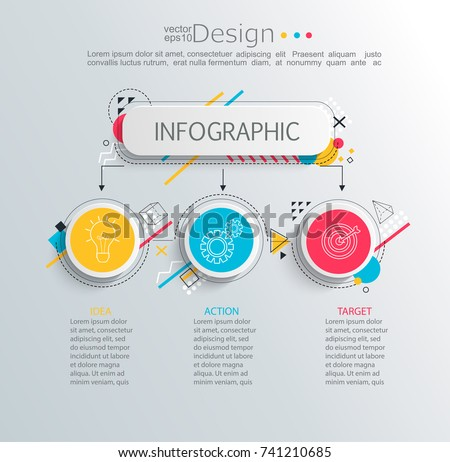 Presentation business infographic template with 3 options and abstract geometric pattern. Vector illustration.