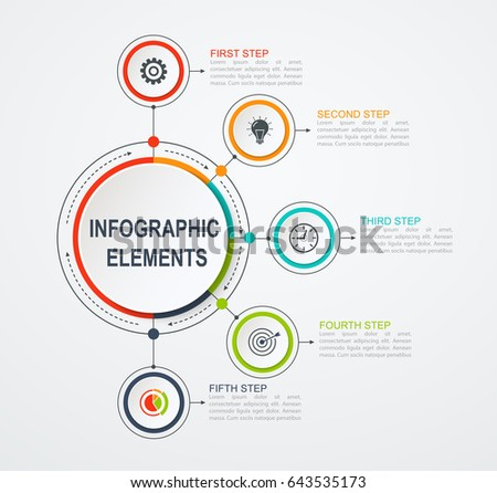 Presentation business infographic template with 5 options. Business concept with integrated circles. #643535173
