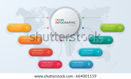 Presentation business infographic template with 8 options. Vector illustration.